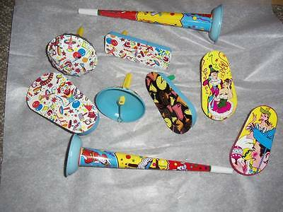 Vintage Tin Litho Noise Makers Set 9 US Metal Toy Mfg Co New Years Birthday