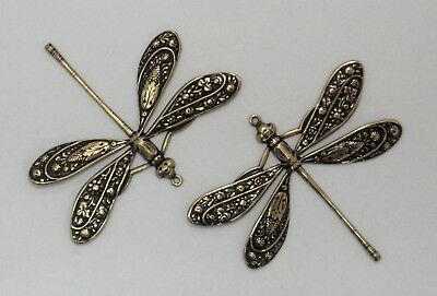 #3322 LARGE ANTIQUED GOLD DRAGONFLY W/TOP HANG RING - 2 Pc Lot