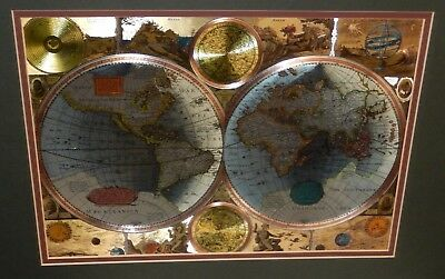 Nova Totivs Terrarvm Orbis ?? Silver,gold & Copper Foil Map Of The World Matted