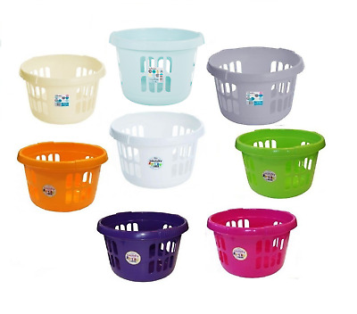 Large Plastic Round Laundry Basket Bin Washing Up Clothes Storage Laundry Hamper