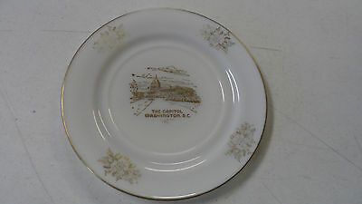 RARE VINTAGE THE CAPITOL WASHINGTON DC MILKGLASS COLLECTOR PLATE GOLD TRIMMED
