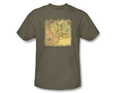 The Lord of the Rings Movie Middle Earth Map Image T-Shirt, NEW UNWORN