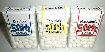 28 ~ 50th BIRTHDAY PARTY FAVORS TIC TAC LABELS ~ PERSONALIZED