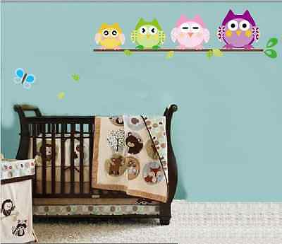 Kids room multi-expression Cute owl tree removable Diy wall children sticker