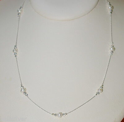 """3 pcs 30"""" Sterling Silver 925 Chains Laser Cut Beads Freshwater Pearl NECKLACES"""