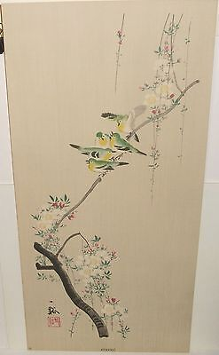 "Japanese ""spring"" Bird On White Flower Tree Watercolor Painting Signed"
