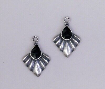 *3274B ANTIQUED SS/P PENDANT/ER DROP W/BLACK INLAY - 2 Pc Lot
