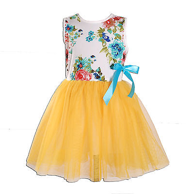 New Girls White and Yellow Flower Party Dress 12-18 Months