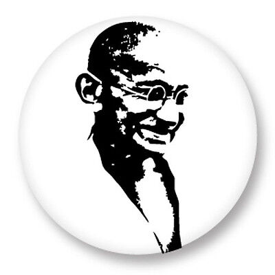 "Pin Button Badge Ø25mm 1"" Gandhi Bapu Mahatma Paix Peace Inde"