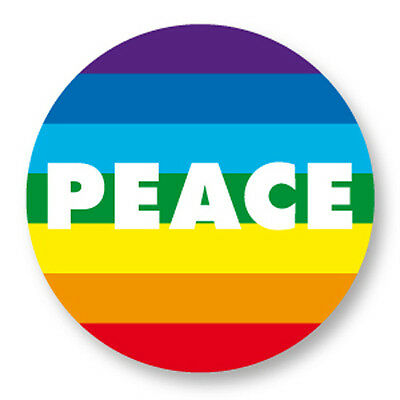 "Pin Button Badge Ø25mm 1"" Peace and Love Paix Amour Arc en Ciel Gay LGBT"