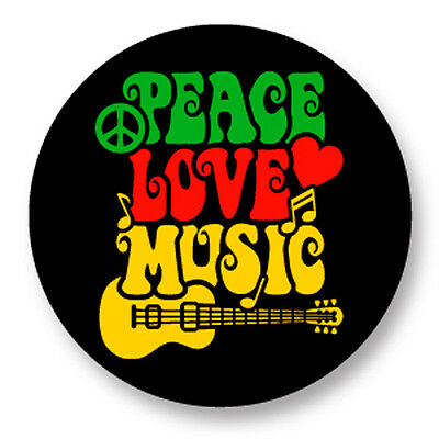 "Pin Button Badge Ø25mm 1"" Peace Love Music Paix Amour Musique"