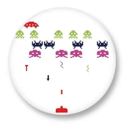 """Pin Button Badge Ø25mm 1"""" Retro Game Arcade Game Vintage Jeux 80s Space Invaders"""