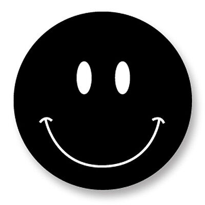 "Pin Button Badge Ø25mm 1"" Smiley Face Smile Smiling Happy Face Noir Black"