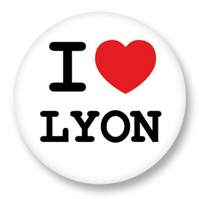 "Pin Button Badge Ø25mm 1"" ♥ I Love You j'aime Lyon Rhône Alpes 69"