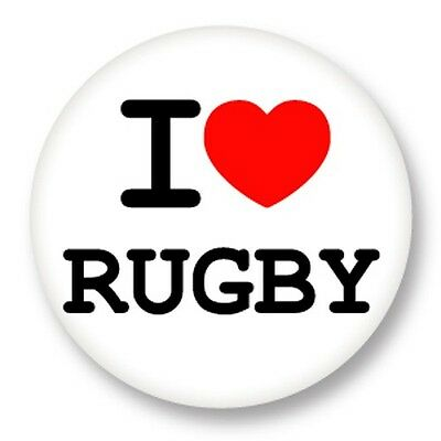 """Pin Button Badge Ø25mm 1"""" ♥ I Love You j'aime Sport Rugby"""