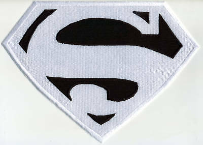 "7"" x 10"" Fully Embroidered Superman Chest Logo Patch --  White & Black"