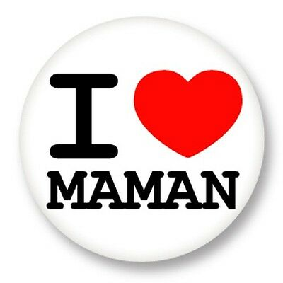 Pin Button Badge Ø38mm ♥ I Love You j'aime Ti amo te amo Mamam Mum