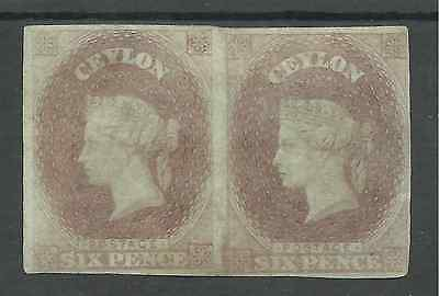 Ceylon 1857-9 Six Pence Purple Brown Pair With Margins All Round ,see Scans