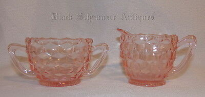 Vintage Fostoria American Depression PINK Sugar Bowl and Cream Pitcher
