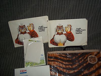 Vintage 1970's Exxon Tiger Bag With Promotional Items Inside