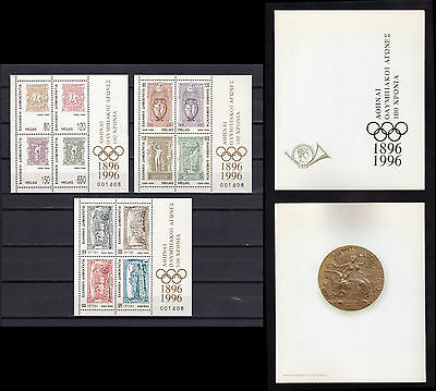 Greece 1996 Olympic Games Centenary Miniature Sheets Mnh