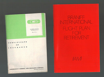 Lot of 2 c1970s Braniff International Airlines Ephemera Retirement Insurance