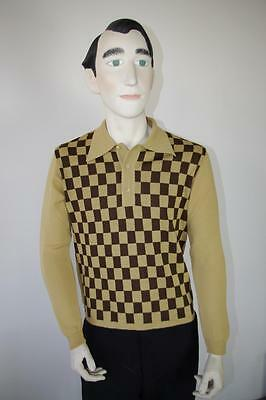 Polo Pullover NOS FLENSBURG 60er wool True VINTAGE Gr. 48 Karo Wolle polo 60s