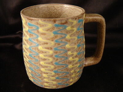 mug cup pottery style kitchen coffee tea yellow blue modern abstract handmade