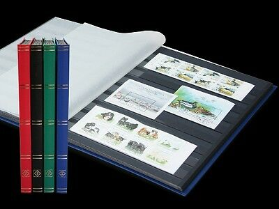 LIGHTHOUSE 16 PAGE STAMP ALBUM WITH BLACK PAGES 16pg STOCKBOOK, CHOICE 4 COLOURS