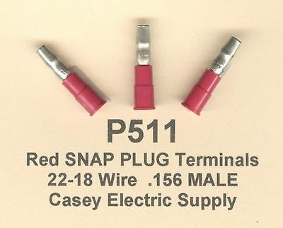 25 Red Insulated SNAP PLUG BULLET Terminal Connector #22-18 Wire .156 MALE MOLEX