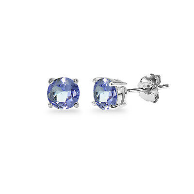 925 Sterling Silver 1ct Tanzanite Round 5mm Stud Earrings