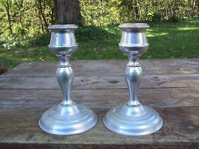 Pair Aluminum or Silver Metal CANDLESTICK HOLDERS vintage contemporary