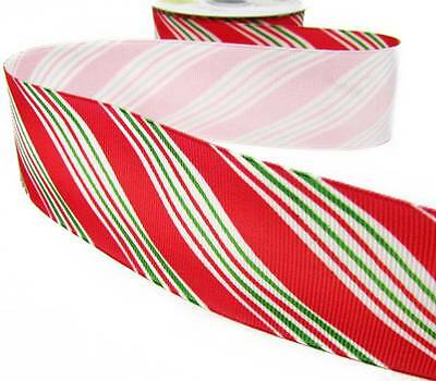 10 Yd Christmas Red and Mini Green Diagonal Candy Cane Stripe Grosgrain Ribbon 1