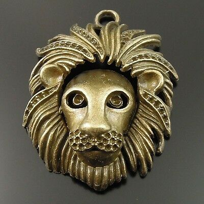 5pcs Antique Bronze Vintage Alloy Mighty Lion Head Mask Pendant Charms 35714