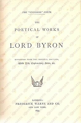 1893 George BYRON The Poetical Works Imperial Poets CON TAVOLE FOTOGRAFICHE
