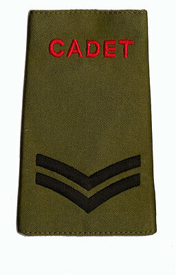 Pair of ACF / CCF Corporal CPL RANK SLIDES for MTP ( Army Cadet Force CADETS