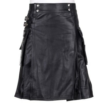 New Mens Genuine 100% Black Leather Casual Pleated Scottish Kilt Sizes 30-54in
