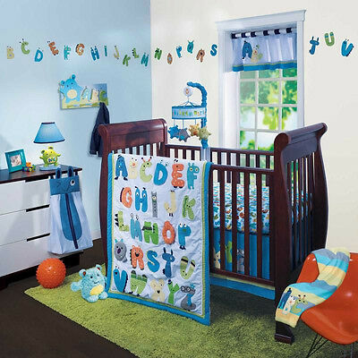 Lambs & Ivy 5 Piece Baby Nursery Crib Bedding Set Alpha Baby w/ Bumper NEW