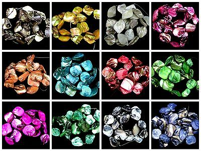 Natural Dyed Shell Nugget Beads 18 Beads Per Pack 16mm - 25mm MANY COLOURS ML