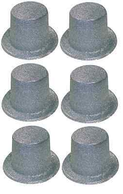 Pack of 6 Silver Glitter Top Hats - Adult Fancy Dress Party Hat Accessories