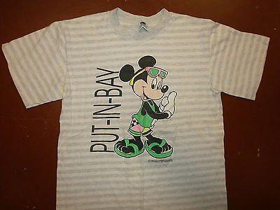 vtg MICKEY MOUSE PUT-IN-BAY T SHIRT Striped Soft Beach Dayglo Neon 80s Party LG