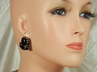 Elegant & Classy Vintage 1950s Black Glass Cabochon Rhinestone Earrings  1719n