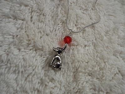 Red Glass Bead Silvertone Chihuahua Pendant Necklace  (C50)