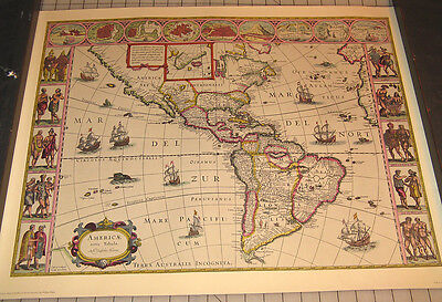 Vintage 17th Cen. Map of NORTH and SOUTH AMERICA WILLEM BLAEU by Penn Prints NY