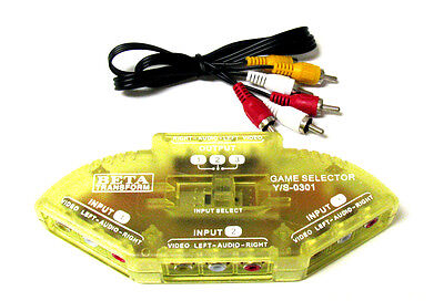 3-Way Audio Video AV RCA Yellow Switch Selector Box Splitter with/3 RCA Cable