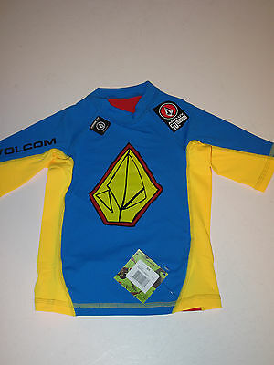 NWT Volcom Boys S/4 Short Sleeve Rash Guard UV Shirt Kreature Loose Blue Red