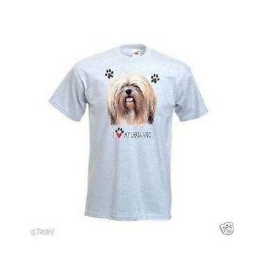 I Love My Lhasa Apso Design Printed On A Ash T-Shirt