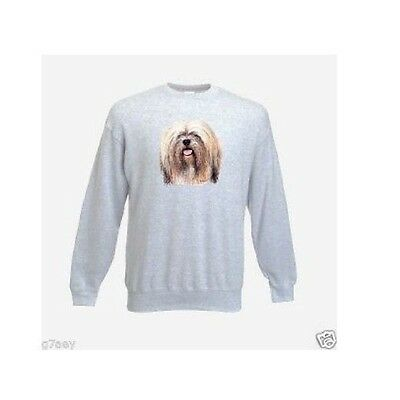 Lhasa Apso Face Design Printed On A Ash Sweatshirt