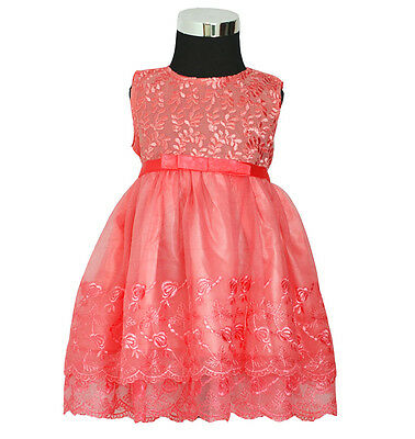 New Baby Girls Salmon Pink Party Pageant Dress 9-12 Months