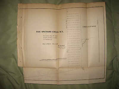 Antique 1854 Oak Orchard Creek Orleans County Lake Ontario New York Map Rare Nr